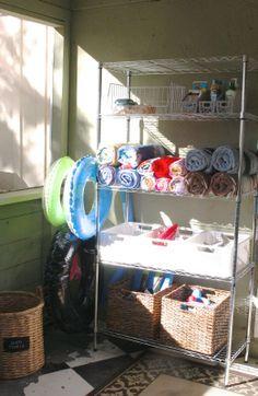Pool towel Storage Ideas Luxury Simply organized organized Pool Gear A Giveaway … – Pool Towels Pool Towel Storage, Pool Float Storage, Pool Changing Rooms, Pool Organization, Pool Shed, Ibiza, My Pool, Pool Fun, Pool Toys
