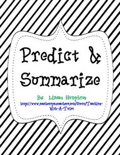 Predict & Summarize activities - Teaching with a TwiSt - TeachersPayTeachers.com