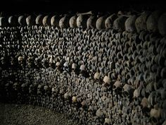 If you're visiting the City of Lights, right under your feet, you'll find the Paris Catacombs and the bones of over six million people. Catacombs Paris, Places Ive Been, Places To Go, Skull And Bones, Cemetery, Creepy, World, Skulls, Death