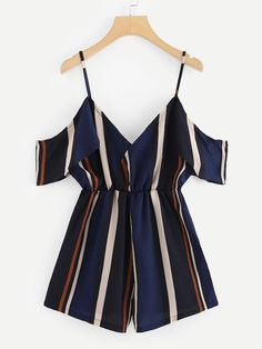 Shein V Neckline Open Shoulder Striped Romper Shop V Neckline Open Shoulder Striped Romper online. SheIn offers V Neckline Open Shoulder Striped Romper & more to fit your fashionable needs. - Jumpsuits and Romper Teen Fashion Outfits, Look Fashion, Fashion Clothes, Girl Fashion, Girl Outfits, Fashion Black, Fashion Styles, Latest Fashion, Fashion Online