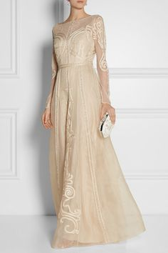 Temperley London Crivelli embroidered tulle and silk-organza gown #brides