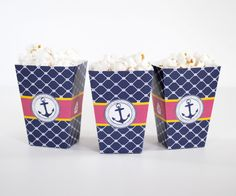 Preppy Nautical Pary Snack Cup or Favor Box
