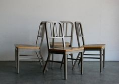 Vintage Mid Century Modern Emeco Style Navy Chair (Set of 4)