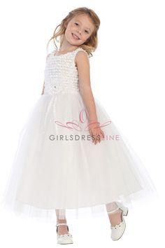 White+Ribbon+Trimmed+Texture+Style+with+Overlayed+Tulle+Flower+Girl+Dress+SG-R101-WH+on+www.GirlsDressLine.Com