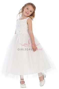 White+Ribbon+Trimmed+Texture+Style+with+Overlayed+Tulle+Flower+Girl+Dress+SG-R101-WH+on+www.GirlsDressLine.Com