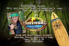 SURVIVOR Birthday Party PHOTO Invitation Girls Boys Theme surfing games teen tween Personalized Custom CARD
