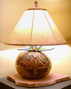 Hummingbird gourd pot lamp by Robert Rivera