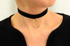 Circle Choker Necklace, Suede Choker Necklace, Sterling Silver Necklace, Wrap Choker, Black Choker, Suede Wrap Choker, Charm Choker