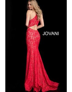 Jovani 63214 is an Embellished Lace Fitted Sleeveless Prom gown with a cut out racer back. Form Fitting Prom Dresses, Fitted Prom Dresses, Jovani Dresses, Prom Dresses Online, Strapless Dress Formal, Red Lace Prom Dress, Trumpet Dress, Long Evening Gowns, Perfect Prom Dress