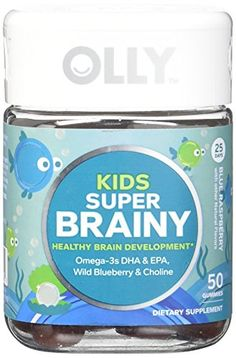 Thrive Dietary Supplement - OLLY Kids Super Brainy Omega DHA/EPA Gummy Supplements, Blue Raspberry, 50 Count * For more information, visit image link. (This is an affiliate link) Healthy Brain, Healthy Life, Healthy Food, Omega Oils, Omega 3, Grade 3, Third Grade, Wild Blueberries, Essential Fatty Acids