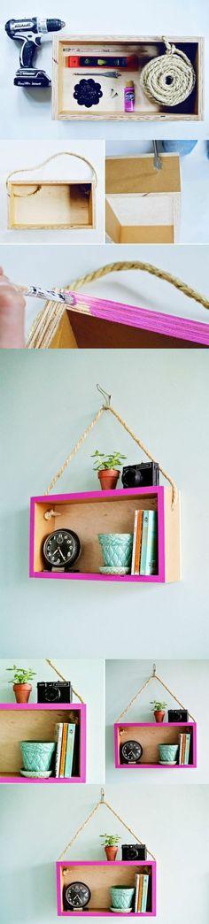 DIY wall decor: 138 great ideas for your home! ---------------------------------------------------------------DIY wall decor: 138 great ideas for your home! Diy Wanddekorationen, Home Crafts, Diy Crafts, Ideias Diy, Hanging Shelves, Diy Hanging, Diy Wall Decor, Wooden Boxes, Wooden Diy