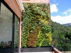 Jardín vertical en una residencia privada en Bogotá, Colombia.