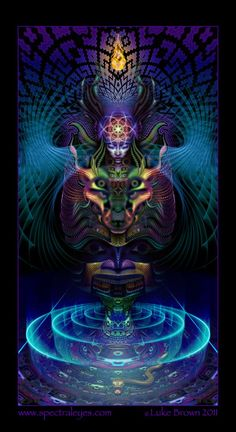 Keeping the doors of the visionary experience open: A portrait of psychedelic artist Luke Brown By Judith Sudhölter - Psychedelic Press UK Les Chakras, Psy Art, Mystique, Art Graphique, Visionary Art, Sacred Art, Psychedelic Art, Fractal Art, Sacred Geometry