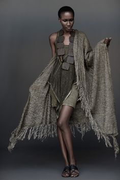 The over-sized scarf will look wonderful over any outfit, especially the thyme asymmtric tank and tube skirt
