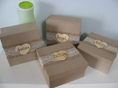 Rustic Personalized Bridesmaid Gift Box Set of 2 Jewelry Keepsake Gift Box Chalkboard or Wood Tag Bride Ring Box You Personalize on Etsy, $20.00