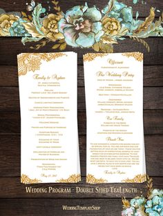 Wedding Program DIY Double Sided TeaLength Order Of Service Vintage Lace Gold