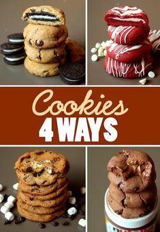 Cookies 4 Ways --Oreo Stuffed Cookies --S'mores Cookies --Nutella Stuffed Cookies // Butter Baking --Red Velvet Cheesecake Cookies // Droolfactor