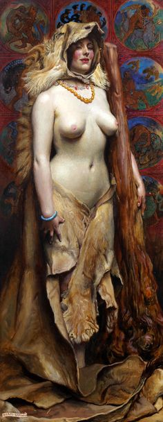 Omphale by Byam Shaw, 1914. In Greek mythology she was the mistress of Hercules. Dressed in skin of Nemean lion and holding Hercules' club; the labors of Hercules are in the background