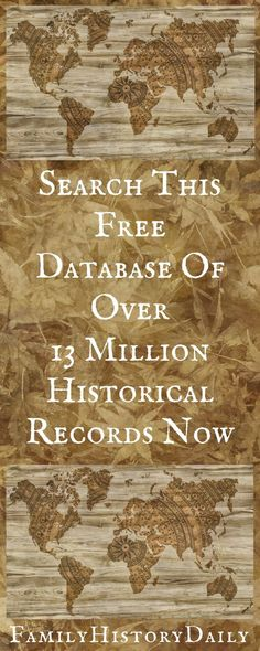 Search this database of over 13 million free genealogy records and learn more about your family history. by imogene Search this database of over 13 million free genealogy records and learn more about your family history. by imogene Free Genealogy Records, Free Genealogy Sites, Genealogy Forms, Genealogy Chart, Genealogy Research, Family Genealogy, Ancestry Websites, Ancestry Records, Genealogy Humor