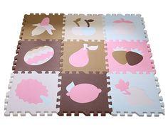 30*30*1.4cm Soft Foam EVA Floor Mat Jigsaw Tiles Kids Babies Puzzle Play Mats 9pcs Fruit (Blue)