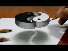 Trick Art on Line Paper - Drawing Half Sphere Optical Illusion - Anamorphic Illusion with Pencils - YouTube