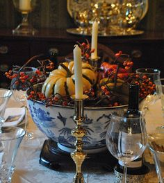 blue & white, Fall-themed centerpiece