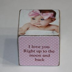 Baby Girl Wooden Block . Pink Wooden Block . by SouthernA on Etsy