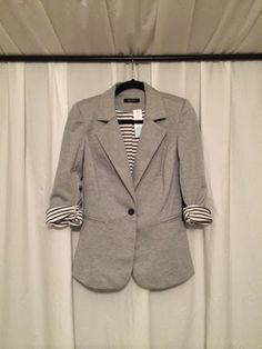 stitch fix stylist: this blazer would be perfect for my work wardrobe. i love the gray color & the fun pop with the stripes.