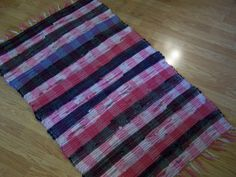 Vintage Rag Rug, Farmhouse Kitchen, Hand Loomed, Country Cottage, Red, Black, Pink, 48 x 28 by TeresasTreasuresEtc on Etsy