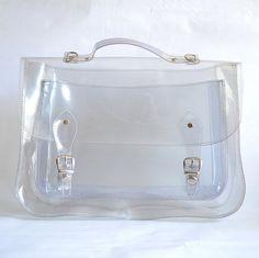 Items similar to Large bag number 3 Clear transparent plastic satchel shoulder strap (Handmade to order) on Etsy Satchel Backpack, Satchel Handbags, Crossbody Bag, Clear Plastic Bags, Clear Bags, Shoulder Strap Bag, Zara Bags, Purse Organization, Fabric Bags