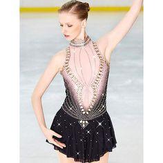 Figure Skating Dress Womens Girls Black Asymmetric Hem Spandex Micro-elastic Professional Competition Skating Wear Handmade Sequin Long Sleeve Figure Skating,Black-Child14