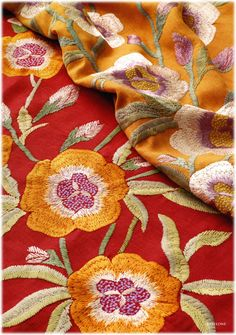Manuel Canovas's 'Babylone,'in Geranium or Mango, in Linen & Viscose, Embroidered and Gorgeous!