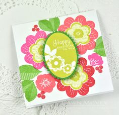 Floral Happy Birthday Card by Dawn McVey for Papertrey Ink (January 2015)