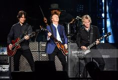 Rusty Anderson, Paul McCartney and Brian Ray perform on Opening Night of the One On One Tour at Save Mart Center on April 13, 2016 in Fresno, California.