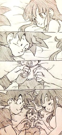 Goku, Gohan, & Chichi