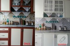 One of the most successful examples of kitchen renovation. before and after … – Kitchen decor ideas - Bedroom Decor ideas Blue Bedroom, Bedroom Decor, Cupboard Handles, Bedroom Lighting, Furniture Makeover, Home Accessories, Tile Floor, Kitchen Decor, Living Spaces
