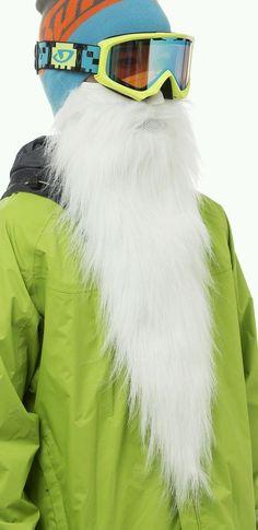 Beardski Long White MERLIN Fleece Neoprene Bearded Ski Snowboard Face Mask NEW #Beardski