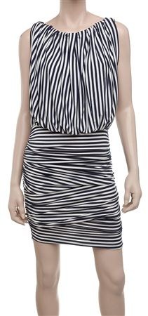 MAX STUDIO blue stripe dress