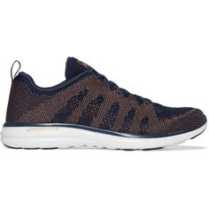 APL Athletic Propulsion Labs TechLoom Pro metallic mesh sneakers (287.300 COP) ❤ liked on Polyvore featuring shoes, sneakers, midnight blue, metallic lace up shoes, midnight blue shoes, laced shoes, metallic sneakers and light weight shoes