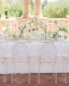 lucite chairs with sketched lace liners #white #wedding