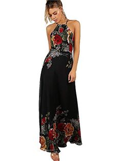 f8adff7f12 Code  P0049 Women s Sleeveless Halter Neck Vintage Floral Print Maxi Dress  Price    39.99 Size