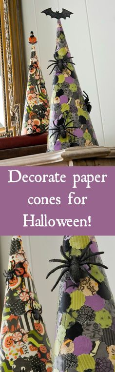 Learn how to decorate paper cones for Halloween - using scrapbook paper, Mod Podge, and a small circle punch!