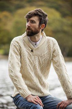 Merino Wool Mens Aran Shawl Collar