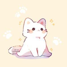 Cute Kawaii Animals, Cute Animal Drawings Kawaii, Cute Little Drawings, Kawaii Art, Cute Images, Cute Pictures, Kitten Drawing, Gato Anime, Wallpaper Animes