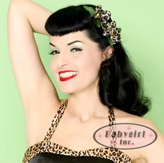 Rockabilly Leopard Hair Flowers!  Do you love leopard and flowers?  Well then this is the purrrrrfect rockabilly hair clip for you, dahlings.  A clever accessory for your favorite animal print outfit.