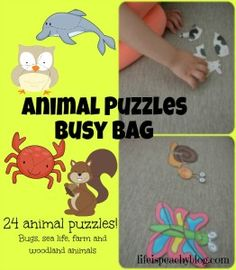 Animal Puzzles Busy Bag with Free Printable | Life is Peachy