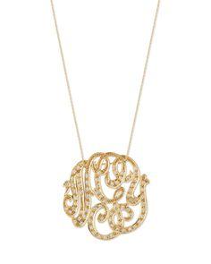 Medium 14K Diamond Lace Monogram Necklace, Gold - Ginette Lab