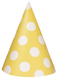 Yellow and white polka dot paper party hats.  Party hats are a classic item for any party.  Perfect for almost all ages, party hats are lots of fun to wear.  Polka dots are very popular and are a classic pattern that has been around for many years.  Check out our huge selection of yellow and white polka dot items