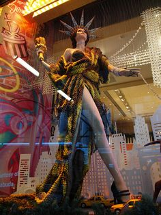 love this Henri Bendel window...lady liberty on the loose
