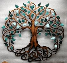 Teal Sparkle Leaf 28 Inch Diameter Tree of by HumdingerDesignsEtsy, comes with key hole hanger, sealed to protect. $187.59